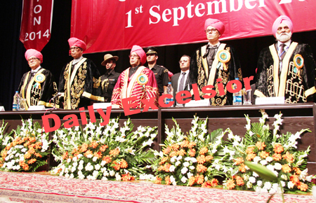 President Pranab Mukherjee, Governor N N Vohra, Chief Minister Omar Abdullah, Minister for Higher Education Akbar Lone and Vice-Chancellor Prof M P S Ishar at 14th convocation of Jammu University on Monday.
