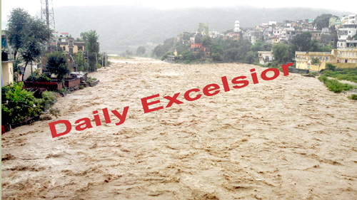 A view of flood in Poonch on Wednesday