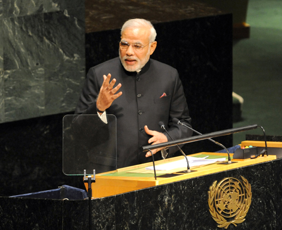 Prime Minister Narendra Modi addressing the 69th session of the United Nations General Assembly in New York on Saturday.