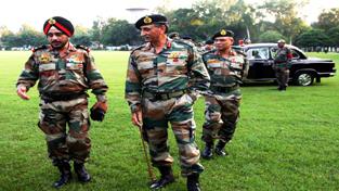 Army Commander K J Singh arriving at Tiger Division.