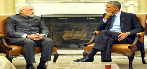 Prime Minister Narendra Modi and US President Barack Obama during Summit level talks in White House at Washington on Tuesday.