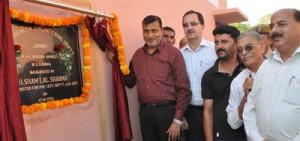 Minister for PHE, Sham Lal Sharma inaugurating tubewell at Bomal on Friday.