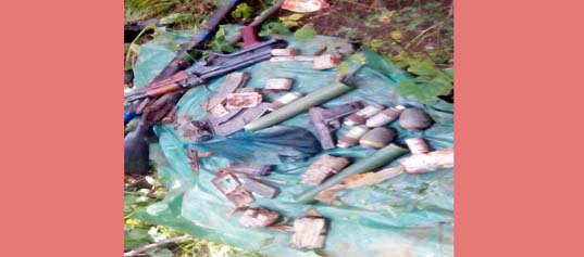 Arms, ammunition and explosives seized by Army and police at forests in Ramban district on Monday.