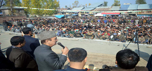 Congress leader Ghulam Nabi Azad addressing a public meeting at Devsar in Kulgam district on Monday. -Excelsior/Sajad Dar