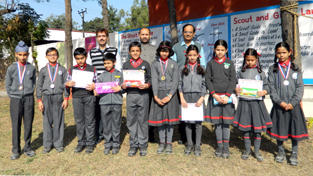 Winners of various competitions posing with Principal, KV No. 1, TR Choudhary and others at Jammu.