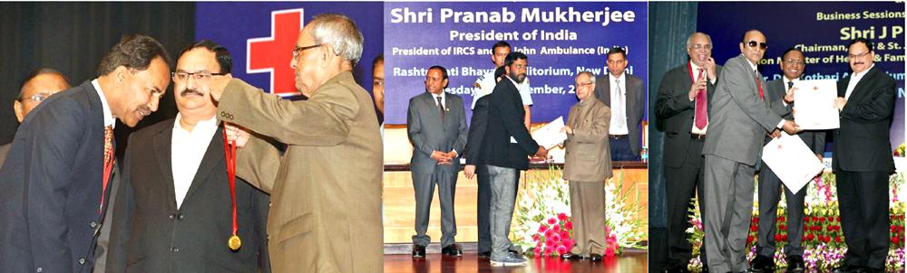 Red Cross Volunteers from J&K being felicitated by President of India, Pranab Mukherjee in New Delhi.