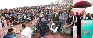 PDP patron Mufti Mohammad Sayeed addressing a public meeting in Mahore on Saturday.