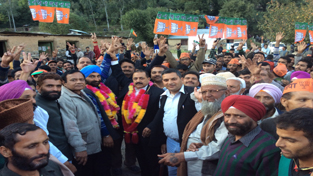 Union Minister Dr Jitendra Singh at an election rally in Sungri,district Reasi with BJP's Gulabgarh candidate Pardeep Singh on Saturday.
