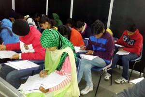 Students attending Examination held by Ables Academy Jammu Centre in Jammu.