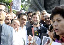 Congress Party MPs demonstrating against U-turns by the Narendra Modi government at the Parliament House complex, in New Delhi on Tuesday. (UNI)