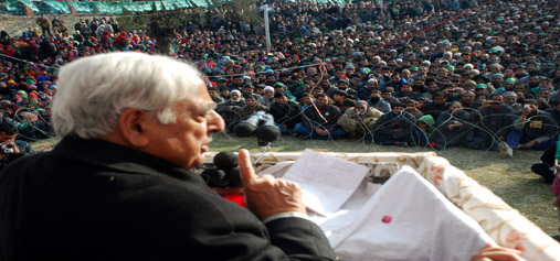 PDP patron Mufti Mohammad Sayeed addressing a public rally at Dooru in Anantnag on Wednesday.