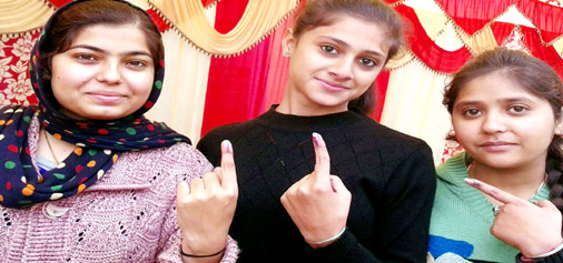 First time voters after exercising their right to franchise in Kathua on Saturday.