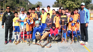 Young skaters posing for the photograph during inaugural ceremony of 9th Gold Cup Roller Skating Championship in Jammu.