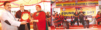 Kiran Wattal receiving memento during MIER's Foundation Day (left), students presenting cultural item (right).