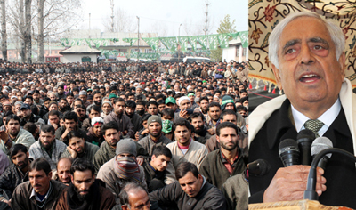 PDP patron Mufti Mohammad Sayeed addressing a gathering at Pulwama.