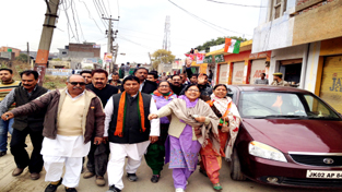 BJP candidate Sat Sharma during election campaign in Jammu West on Sunday.