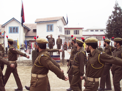 Commandant, SDRF, Ist Battalion, Mehraj Shah taking salute on March Past during 3rd Raising Day of SDRF at Srinagar.