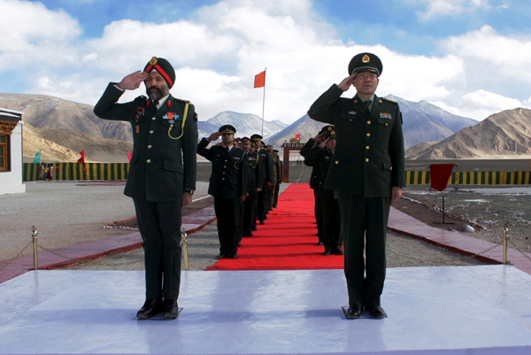 India and China Army officials saluting tricolour at Chushul in Eastern Ladakh.