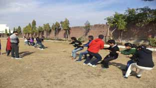 Players in action during a Tug-of-War competition at Kawa Institute of Management and Technology in Jammu.
