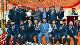 Jubilant BBMB team posing along with chief guest S K Sharma and other dignitaries after winning volleyball title.