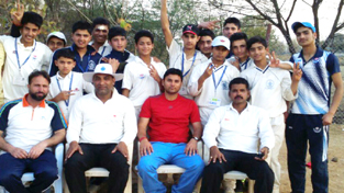 Jubilant players of J&K Under-14 boys cricket team showing victory signs while posing for a group photograph alongwith their coach, manager and match officials after scripting victory over Goa at Mehboob Nagar in Telangana on Wednesday.