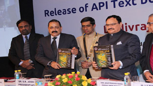 Union Ministers J P Nadda and Dr Jitendra Singh releasing 10th edition of API Textbook of Medicine at New Delhi. Also seen in picture is Dr Shashank Joshi, President API.