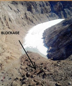 A view of Phutkal River blockage due to landslide at Ladakh.