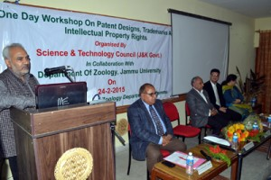 JU VC Prof R D Sharma speaking at workshop on Tuesday.