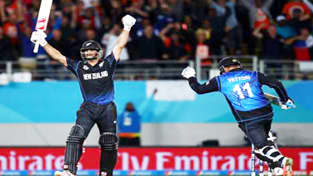 New Zealand's Grant Elliott and Daniel Vettori celebrating their thumping victory in WC semifinal match against South Africa.