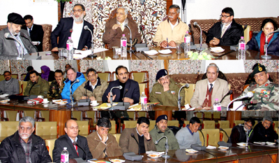 Chief Minister Mufti Mohd Sayeed chairing a meeting at Srinagar on Sunday.