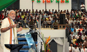 Prime Minister, Narendra Modi addressing at the Civic Reception, in Mahe, Seychelles on Wednesday.