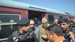NC president, Dr Farooq Abdullah at Khanabal Railway Station, Anantnag on Friday. — Excelsior/Sajad Dar