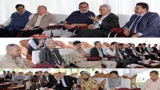 Chief Minister, Mufti Mohd Sayeed chairing a meeting at Srinagar on Sunday.