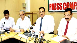CGM NABARD, Shanker A Pande interacting with media persons at Jammu on Wednesday. -Excelsior/Rakesh