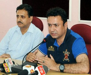 Minister for CA&PD Choudhary Zulfkar addressing a press conference on Thursday.