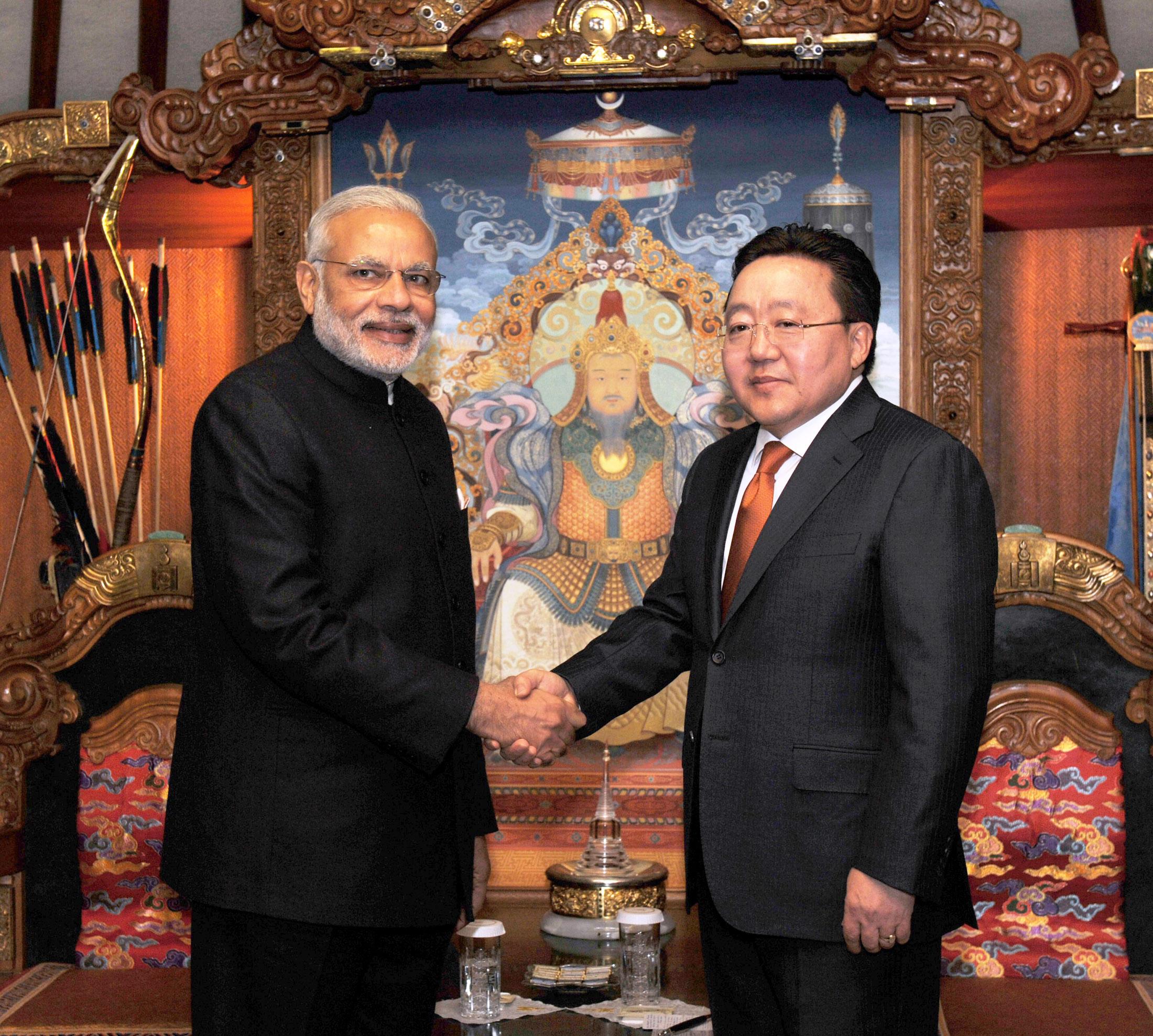 Prime Minister, Narendra Modi meeting the President of Mongolia, Tsakhiagiin Elbegdorj, in Mongolia on Sunday.