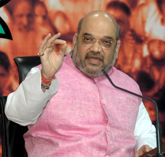 BJP President Amit Saha addressing a press conference in New Delhi on Tuesday. (UNI)