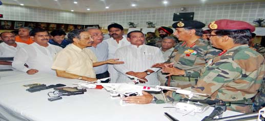 Members of the Parliamentary Standing Committee on Defence led by Chairman Maj.Gen. (Retd) BC Khanduri being briefed on the prevailing security situation in the State and the defence preparedness by senior Army officers at Northern Command Headquarters in Udhampur on Saturday. (UNI)