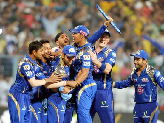 Mumbai Indians players celebrating victory in IPL-8 final against CSK at Eden Gardens in Kolkata on Sunday.