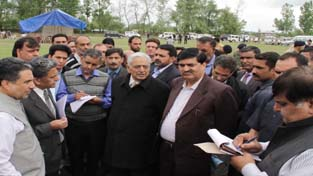 Chief Minister Mufti Mohd Sayeed during his visit to Vessu on Wednesday.