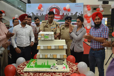 IGP Jammu Danish Rana and others during 1st anniversary celebrations of Wave Mall at Jammu on Friday.