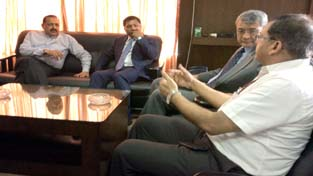 Union DoNER Minister Dr Jitendra Singh holding a meeting with Chief Minister of Meghalaya, Dr Mukul Sangma and the State Administration at Shillong on Tuesday.