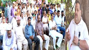 Provincial President NC, Devender Singh Rana addressing a public meeting in Nagrota Assembly segment on Monday.