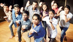 Devika Ranjan, a scholar from Washington DC conducting a theatre exercise at Natrang studio theatre in Jammu.