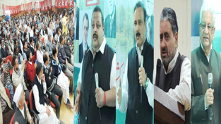 NC leaders addressing party convention at Doda on Thursday.