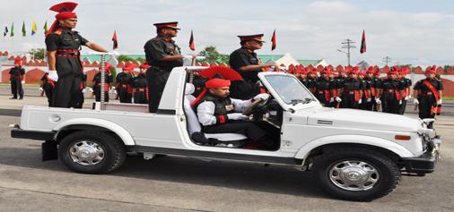 Lieutenant General RN Nair, inspecting the passing out Parade in Srinagar on Saturday. — Excelsior/Amin War