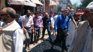 MLA Beerwah, Omar Abdullah during his visit to Beerwah on Wednesday.