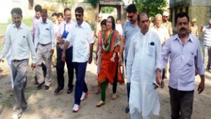 DC Samba, Sheetal Nanda during visit to Samba town on Wednesday.