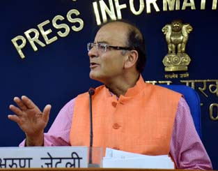 Union Minister for Finance,Information and Broadcasting Arun Jaitley briefs newsmen after cabinet meeting in New Delhi on Thursday. (UNI )
