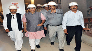 DyCM, Dr Nirmal Singh during his visit to Baglihar Power Project on Monday.